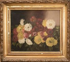 "Antique Oil Painting Monogramed ""L.E.M."" 1891, Floral Still Life, FINE O/C NICE"