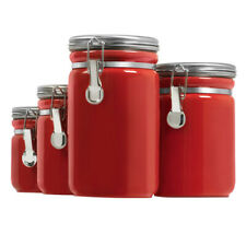Red 4-Piece Round Ceramic Canister Set+Stainless Steel Clamp Lids Home Kitchen