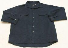 George Blue Polyester Two Pocket Dress Shirt Button Up XXL 2XL 50/52 Men's Top