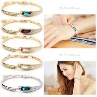 Crystal Plated Silver Women Charm Bracelet Cuff Chain Jewelry Fashion Bangle New