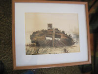 1885 WATERCOLOR OF ABANDONED WHALER HULL by LUCY SCARBOROUGH CONANT