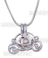 5PCS Carriage Cages Silver Plated Pendants Necklace Christmas Pearl Party Gifts