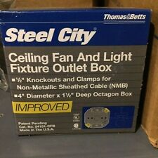(NEW) Steel City 54151-CFB Steel Octagon Ceiling Fan and Light Fixture Box