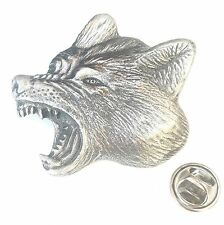 Snarling Wolf Head Exclusive Pin Badge Handcrafted in Solid Pewter In The UK