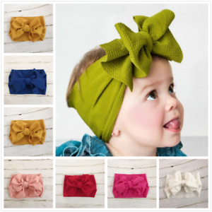 Handmade Baby Girls Large Bow Headband Infant Toddler Knot Hair Band Head Wrap