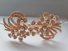 Bridal/Bridesmaid - Austrian Crystal side headband Tiara Rose Gold *NEW IN* UK