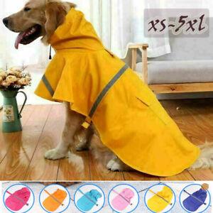 Dog Puppy Raincoat Adjustable Pet WaterProof Rain Jacket Poncho Hoody Reflective