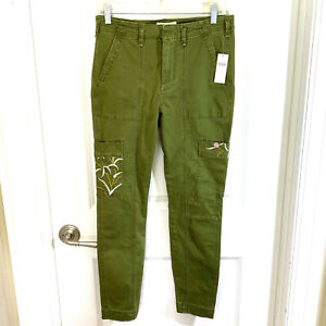 Anthropologie Austin Embrodiered Utility Pants Moss Green Size 28 NEW NWT