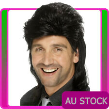 Mens Black Mullet Wig 1980s 80s Costume Accessory 70s 80's 1980's Punk Wigs