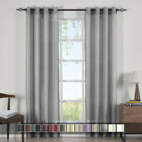 Abri Grommet Solid One Single Panel Crushed Sheer Curtain Window Drape
