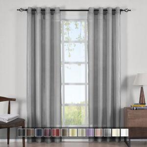Abri Grommet Solid One Single Panel Crushed Sheer Curtain Window Drape