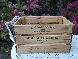 Large Wooden Moët & Chandon Champagne Wine Crate Box Storage Shabby Chic Retro
