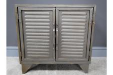 Louvre Door Industrial Metal Cabinet- Industrial Style 2 Door Sideboard