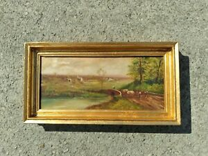 ANTIQUE OIL PAINTING ON CANVAS C0WS, LANDSCAPE 19TH CENT FRAMED