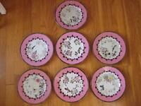 antique Japan porcelain 7 PLATE LOT vtg bird imari meiji kutani arita ? Signed