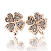 NEW 18K Rose Gold Plated Lucky Flower Crystal Clover Stud Earrings Womens Girls