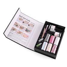 Nail Art Transfer Foil Rolls Adhesive Rhinestones Base Top Coat Manicure Set Kit