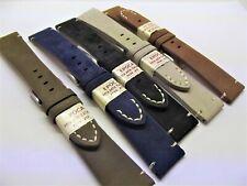 cinturini vintage vera pelle italiana nappa scamosciata ansa 20 mm  watch staps