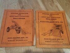 Allis Chalmers Bale Loader & Roto Baler Operators Parts Manual Original Lot