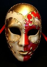 MAR 4 HANDMADE IN ITALY PAPIER MACHE, MASQUERADE PARTY, FULL FACE MASK RED/GOLD