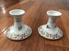 Vintage Carl Schumann German Porcelain Pair of Candle Holders Floral Decoration