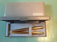 PARKER 75 GOLD  FOUNTAIN PEN 14K GOLD FINE PT  & BALLPOINT SET NEW IN BOX USA
