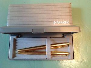 Parker 75  Set Gold Fountain Pen 14K Gold Fine Pt & Ballpoint  Pen New In Box