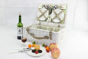 Vintage Antique Picnic Hamper Basket for 2 or 4 Persons With Easy Carry Handle