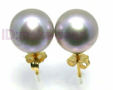 ELEGANT 9.3mm AAA+ Round Lavender Gray South Sea Pearls Earring 14K Yellow Gold