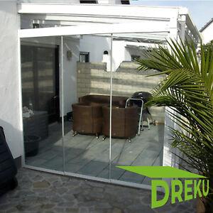 5,0 m - Glasschiebewand Terrassenüberdachnung Wintergarten Windschutz Trennwand