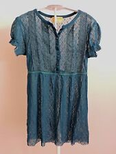 Free People Tunic Top Long Shirt Blouse Teal Blue Sheer Small Short Sleeves EUC