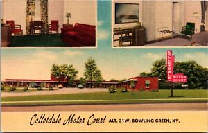 Linen Postcard Colletdale Motor Court in Bowling Green Kentucky~139586