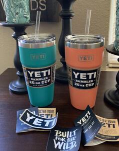 YETI  Ramblers 26 OZ STACKABLE W/Straws & Lids (Unregistered) 🏖Coral & Aquifer