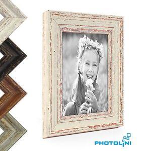 Bilderrahmen Shabby-Chic Vintage Holz Weiss Grau Dunkel-Braun Foto Rahmen Bild