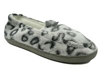 NEW Cheetah Animal Print Fleece Moccasin Slippers Size 6 Cushioned Rubber Sole