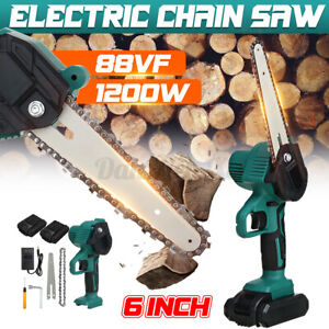 6in Cordless Electric Chain Saw Wood Cutter 1200W Mini One-Hand Woodworking Tool