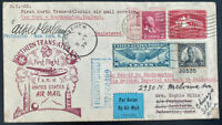 1939 New York USA First Flight Airmail Cover FFC To Bethlehem Palestine FAM 18