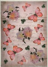 Papel De Arroz Mariposas Rosa Para Decoupage Decopatch Scrapbook Craft Hoja