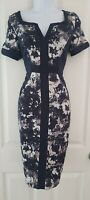 Womens Per Una Dress M&S size 10 navy blue white floral pencil party formal vgc