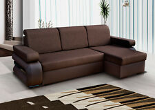 Corner Sofa Bed with Two Storages. Brown,Stunning Modern Look. Soft Fabric
