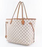 Authentic LOUIS VUITTON Neverfull MM Damier Azur Tote Bag Purse #30895