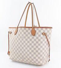 4d0a69a70128 Authentic LOUIS VUITTON Neverfull MM Damier Azur Tote Bag Purse  30895