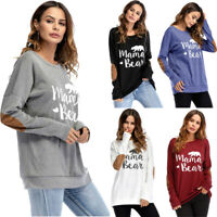 Women's Mama Bear Printed Hoodie Sweatshirt Casual Pullover Tops Blouse T Shirt