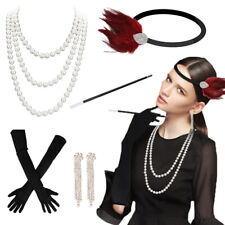 1920s Accessories Hair Flapper Great Gatsby Headpiece Smoking Rod Necklace Ring