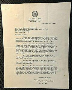 YANKEES NYC MAYOR LAGUARDIA SIGNED ORIG 1943 LETTER TO TEAM PREZ BARROW W/JSA!!