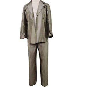 Sigrid Olsen Designer Pant Suit Womens Small Vintage 80s Wool Green Herringbone Lined