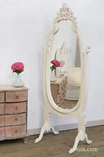 Dusx French Rococo White Hand Carved Freestanding Cheval Mirror