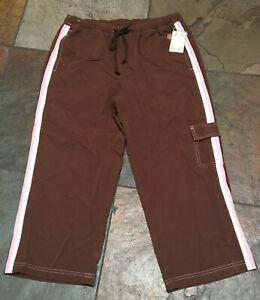 GREEN TEA Small  Brown Cargo Active Yoga Workout Crop Pants NWT B