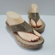CROCS WOMEN'S TAN Snake Skin Print FLIPFLOP CORK WEDGE SANDALS  Size 10