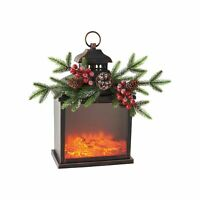 "Firelight Lantern LED Lighted Electric Faux Fireplace Accent Light, 10"" x 17"""